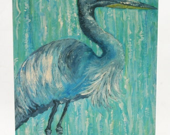 "FREE SHIPPING!  Blue Heron 3-D Wood Art, 11 x 14"""