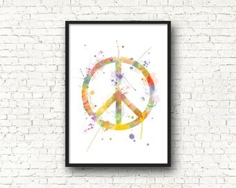 Illustration peace and love, peace and love in the 1960s design