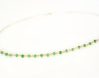 Tsavorite Gemstone Chain Necklace, Dainty Gemstone Chain Necklace, Green Genuine Gemstone Chain Necklace