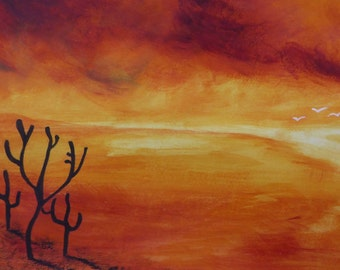 "Original acrylic abstract landscape painting ""Deserted"""