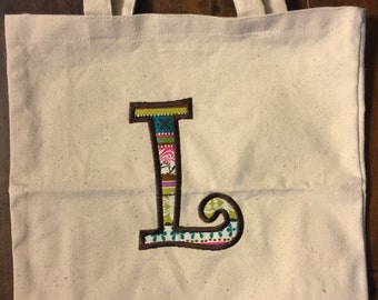 Personalized applique tote bag