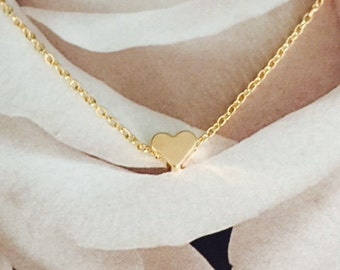 Tiny Gold Heart Bridesmaids Necklace, Dainty Gold Necklace, Heart Necklace, Wedding Necklace, Gold Plated Necklace
