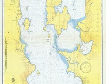 1952 Nautical Map of Lake Champlain New York