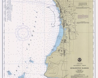 1990 Nautical Map of Burlington Harbor New York