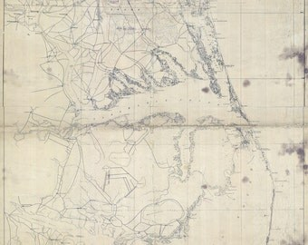1862 Map of North Carolina and Virginia Coast