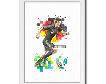 Philipp Lahm - Print Sport Poster Wall Drawing Football Art Poster Soccer Art Watercolor Painting Instant Download