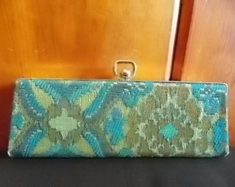 Vintage Turquoise and Green Brocade Eyeglass Case