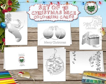 Printable Colouring Cards - Colouring Cards - 10 x Christmas Mice - Shaded - Printable PDF