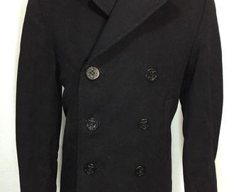 40's vintage us navy wool p coat dark navy blue mens size 36