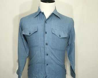 70's vintage us navy chambray shirt military mens size small