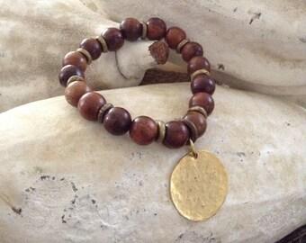 Charm wood bracelet
