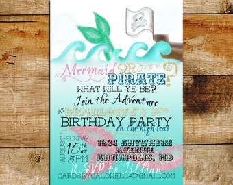 Girly Mermaid or Pirate Birthday Invitation | Mermaid Birthday | Glitter & Pink Invitation | Pirate Birthday