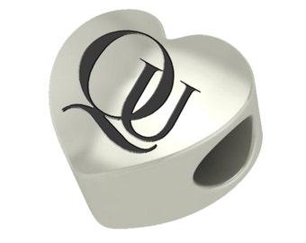Quinnipiac Bobcats Heart Bead Fits Most European Style Charm Bracelets