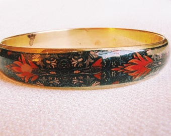 Vintage Decorated Floral Enamel and Brass Cuff/ Vintage Brass Cuff