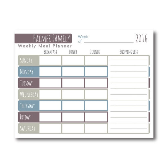 Editable Meal Planner Calendar : Weekly meal planner printable editable pdf personalized