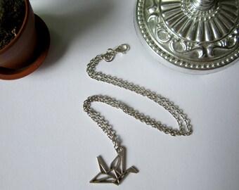Origami crane. Necklace.
