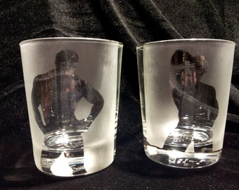 Male Pinup Rocks Glass Pair