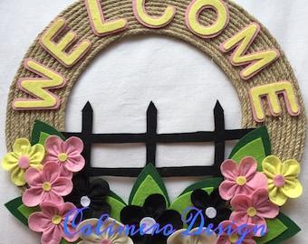 Spring wreath, Summer wreath, Welcome wreath, Home sweet home wreath, Front door wreath, Floral door hanger, Spring door hanger