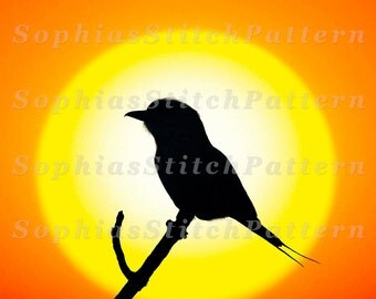 Bird Cross Stitch Pattern, Bird Silhouette, 144x108 Stitches, Colorful, Digital, Chart, PDF, Instant Download #07-10