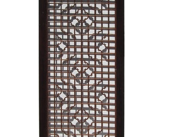 Chinese Wood Screen Panel Headboard with Geometric Floral Design vs892E
