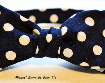 Navy Blue Bow Tie, Self-Tie Bow Tie, Dotted Bow Tie, Self Tie Bowtie, Mens Bowtie, Mens Navy Bow Tie, Groomsmen Bowtie, Bow Tie for Men, Tie