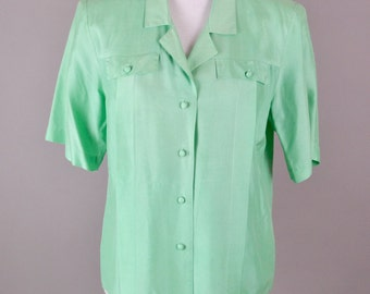 Vintage Green Blouse  |  Green Silk Blouse