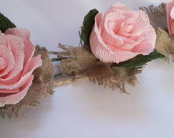 Garland, Lace Wedding GARLAND Pink Roses decorations, wedding TABLE decorations, crepe paper flowers