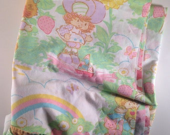 Strawberry Shortcake twin size flat sheet vintage 1980s