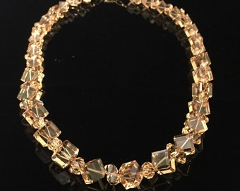 Light Topaz Swarovski Crystal Necklace