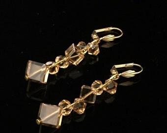 Light Topaz Swarovski Crystal Earrings