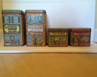 Cheico Villlage Town Tin Canisters- Set of 4