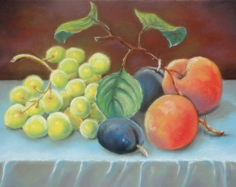 "Soft Pastel Drawing - Still Life with Peaches and Grapes - Fruit Still Life Art Soft Pastel ""12 x16"" (30cm x 40cm)"