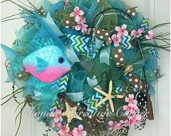 ON SALE!!! 15% OFF!! Under the Sea Deco Mesh Wreath, Fishing Deco Mesh Wreath, Fishing Wreath, Gone Fishing Wreath