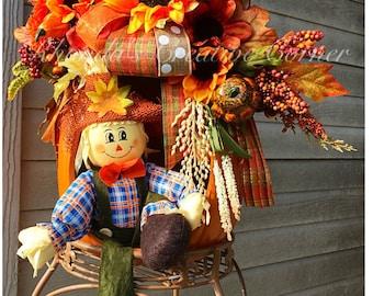 Fall Door Decor, Fall Centerpiece, Scarecrow Door Decor, Fall Pumpkin, Pumkin FLower Arrangement, Scarecrow Fall Flower Arrangement