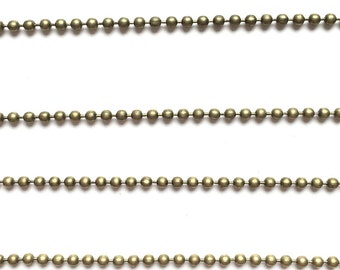 Silver or antique bronze ball chain 2mm (1 metre)