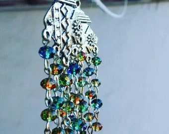 """Ethnic Earrings """"The Eastern Fairy Tales"""" With Crystal Beads"""
