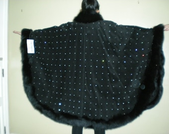 Black Fox trim on Suede Gala Cape - with hand appointed swarovski rhinestone