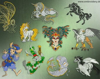 Fantasy embroidery designs pack (10 designs)