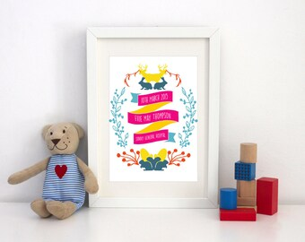 Personalised Vibrant Woodland Nursery Children Print