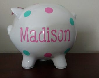 Personalized Piggy Bank.Custom Piggy Bank.Baby Shower Gift.Piggy Bank.Girl Piggy Bank.Boy Piggy Bank.Girl Bank.Mint and Pink Piggy Bank
