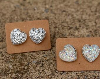 Heart Druzy Earrings
