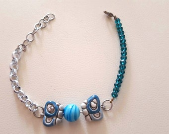 Blue bracelet with butterflies