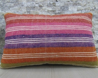 Straight Handwoven Vintage Kilim Pillow Lumbar 12 x 18 Turkish Pillow Vegetable Dyed Boho Pillow Decorative Bedding Kilim Pillow Cover