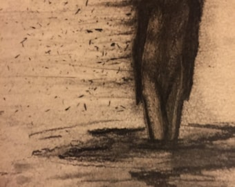 Original charcoal drawing (signed, dated and framed)