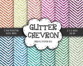 "Glitter Chevron Digital Paper: ""BRIGHT GLITTER CHEVRON"" with Rainbow - Glitter Digital Paper - Sparkling Paper – Color Glitter – Sparkles"