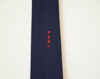 1960s Paul Skinny Necktie in Navy Blue
