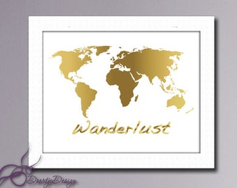 Wall art Gold World Map, Wanderlust Wall art, Printable World map, Wanderlust Art Print, Instant Download, Wall art, Printable quotes
