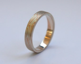 9ct red gold and sterling silver Mokume Gane slim ring
