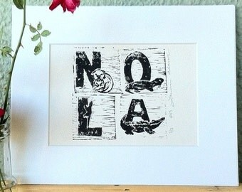 New Orleans, Louisiana Hand-Printed Wall Art
