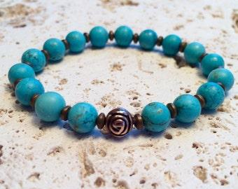 Mala jasper,Turquoise Bracelet,boho bracelet,bohemian bracelet,yoga bracelet,raw turquoise bracelet,gemstone bracelet,turquoise b